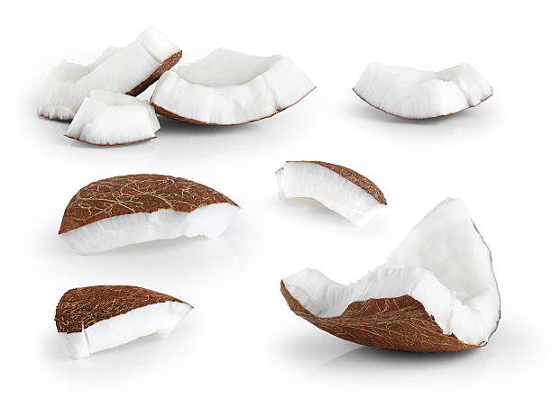 coconut pieces isolated on a white background. - part of stock photos and pictures