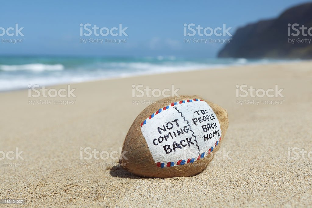 Coconut Postcard To Home from Tropical Paradise Beach Vacation Hz royalty-free stock photo