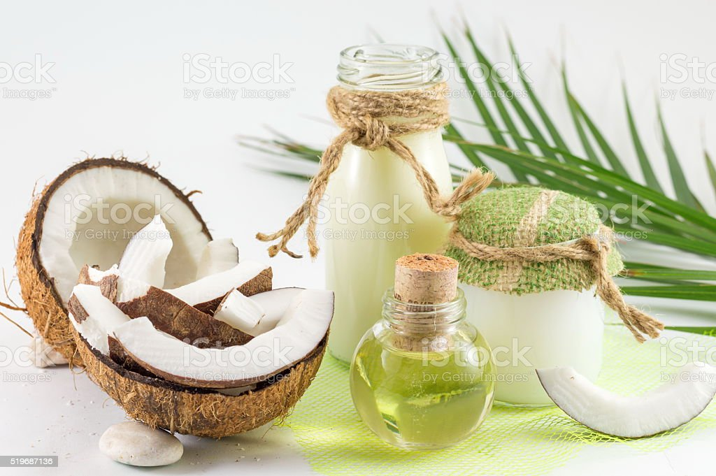 Coconut products with fresh coconut stock photo