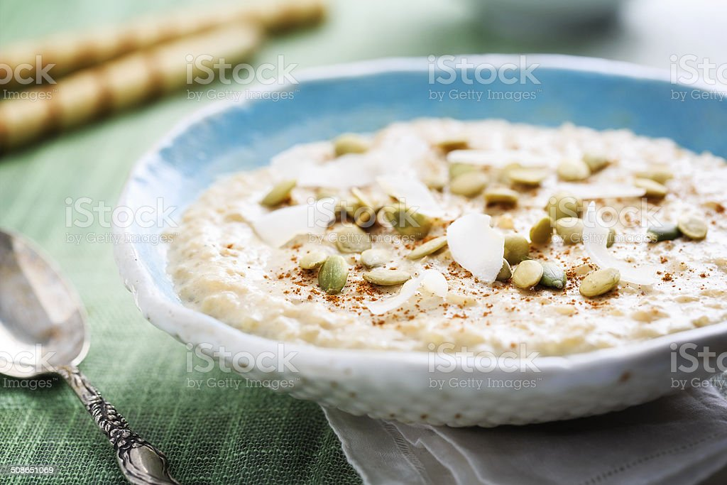 Coconut Rice Pudding stock photo