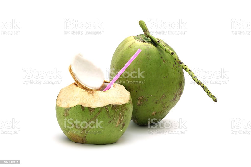 Coconut Ripe and tasty isolated on white background - foto de acervo