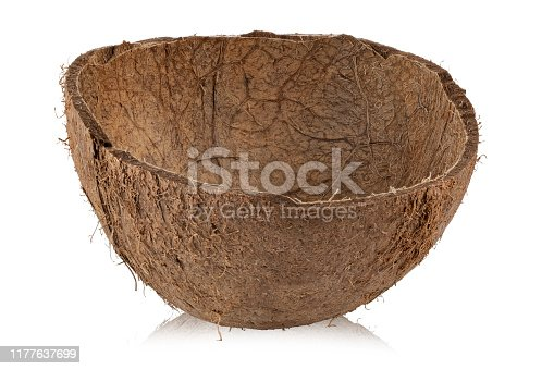 coconut shell isolated on a white background. file contains clipping path