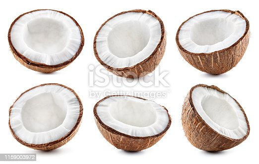 Coconut slice. Coco piecs isolated on white background