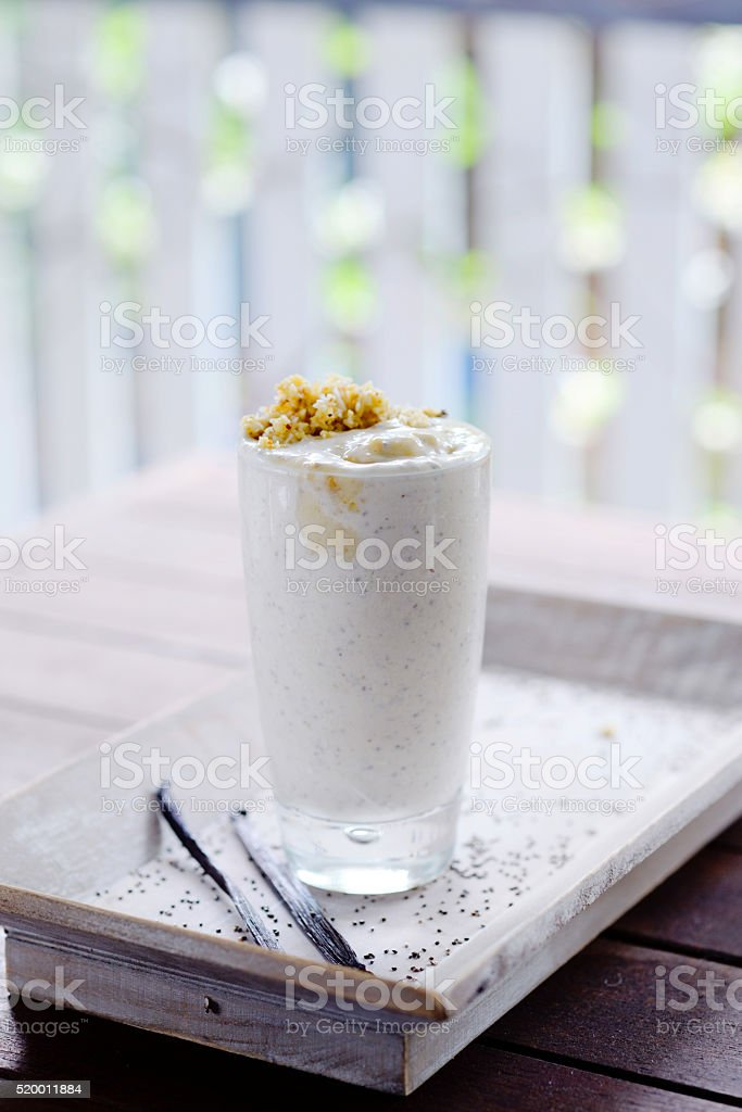 Coconut Smoothie Cup with Cinnamon stock photo