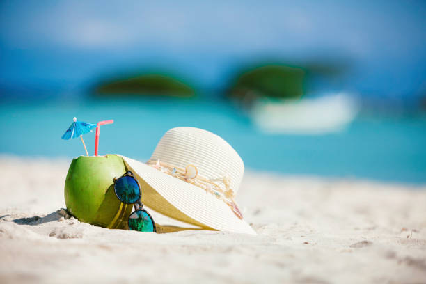 Coconut tropical drink with sunglasses and female hat on sand in a Caribbean island turquoise beach stock photo