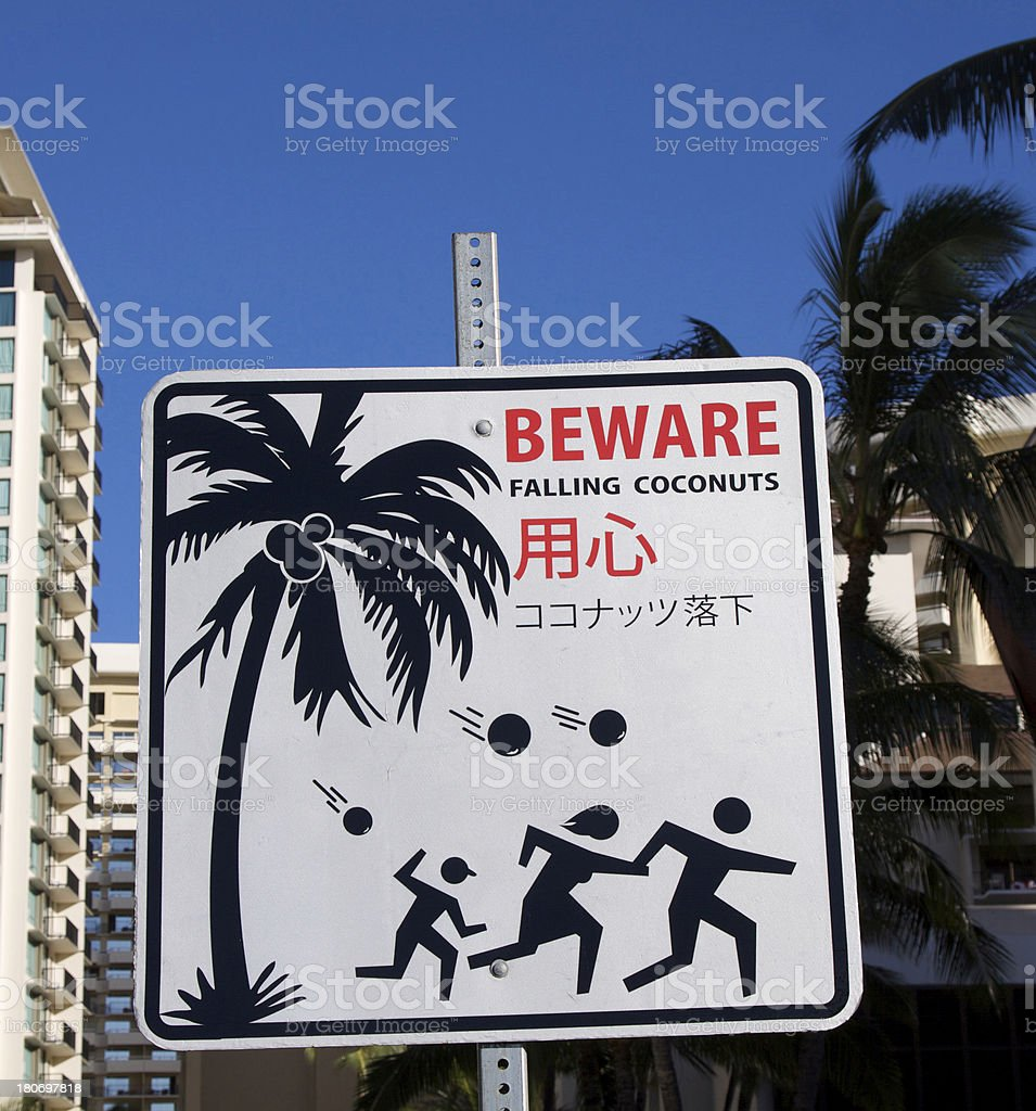 Coconut Warning Sign In Honolulu royalty-free stock photo