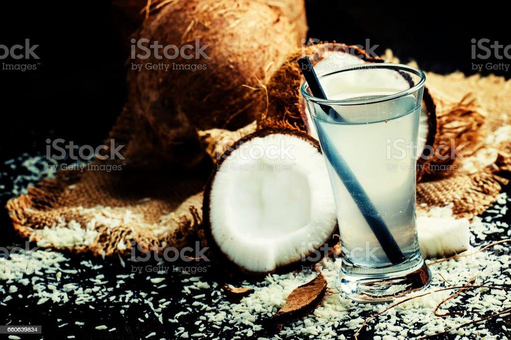 Coconut water, dark background - foto de acervo