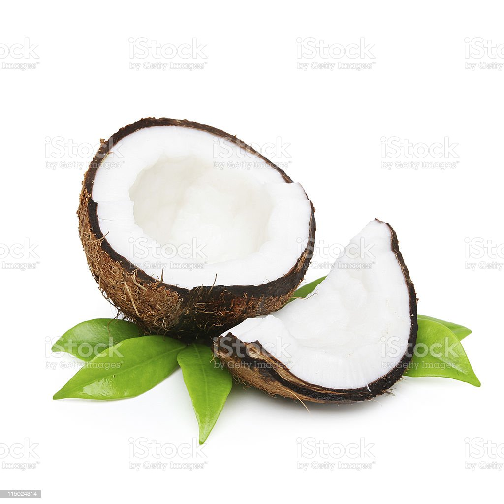 Coconut with green leaves royalty-free stock photo