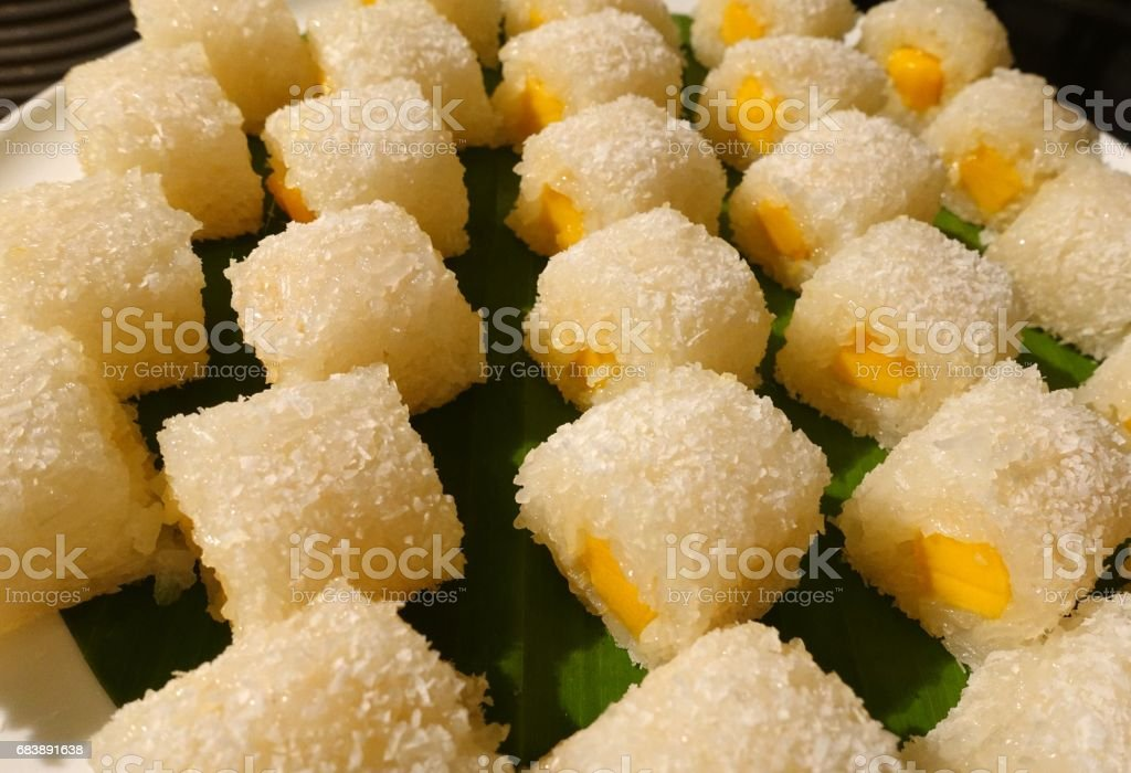 Coconut With Mango And Sticky Rice Maki stock photo