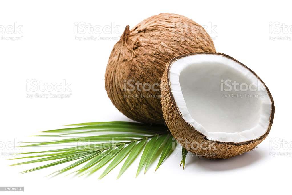 Coconuts and palm leaves royalty-free stock photo