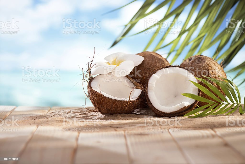 Coconuts on the beach with copy space royalty-free stock photo
