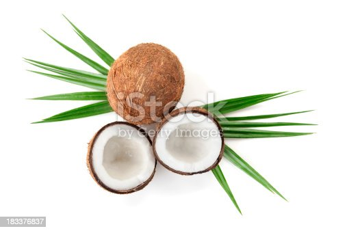 Coconuts on white background