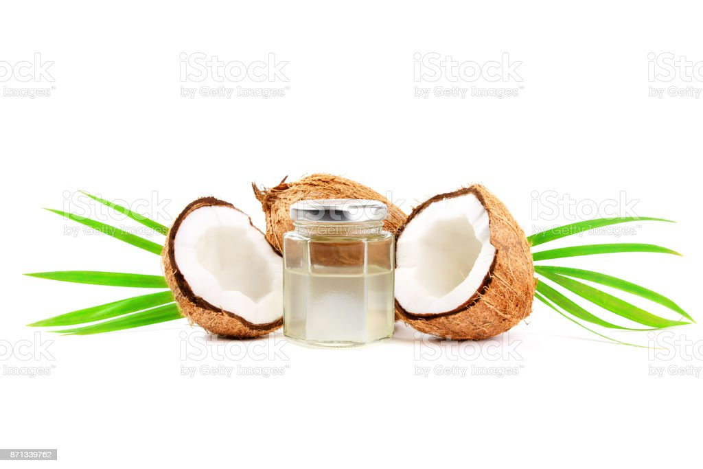 Coconuts with coconut water isolated on white stock photo