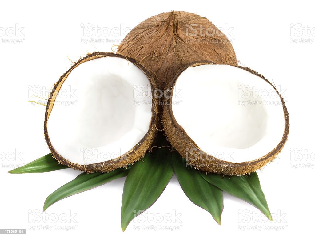 Coconuts with leaves on a white background royalty-free stock photo