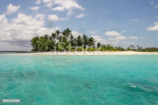 Cocos Keeling Islands Islet Beach - a Postcard Paradise-like beautiful remote beach on small Islet surrounded with the clear turquoise waters of the Cocos (Keeling) Islands, Territory of Cocos (Keeling) Islands, Australian Territories, Australia.
