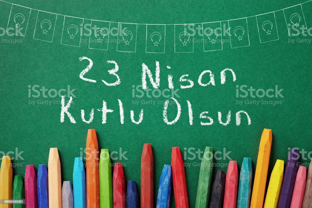 cocuk bayrami 23 nisan , Turkish April 23 National Sovereignty and Children's Day stock photo