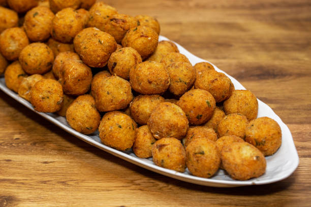 cod croquette with potato is a traditional Portuguese dish. In Brazil called bolinho de bacalhau cod croquette with potato is a traditional Portuguese dish. In Brazil called bolinho de bacalhau estudio stock pictures, royalty-free photos & images
