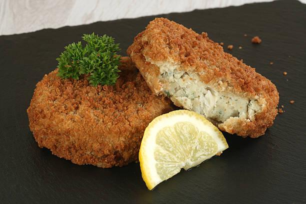cod fish cakes stock photo