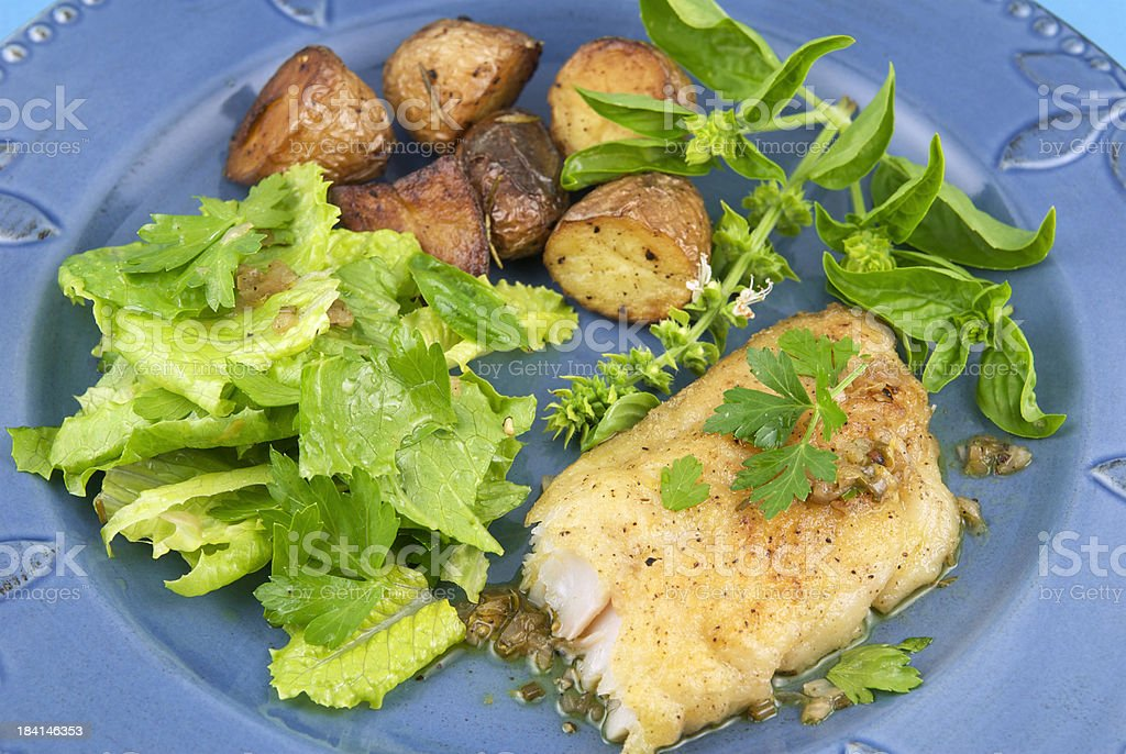 Cod Fish, Whitefish Fillet, Seafood Dinner & Healthy Salad royalty-free stock photo