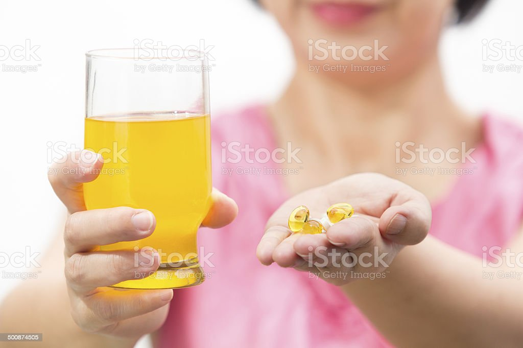 Cod liver oil and collagen dietary supplement  for drink royalty-free stock photo