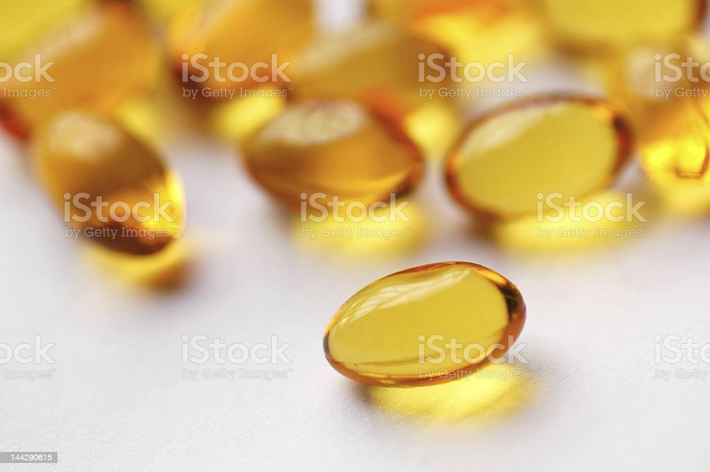 Cod liver oil capsules royalty-free stock photo