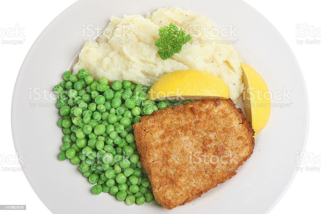 Cod, Mash & Peas royalty-free stock photo