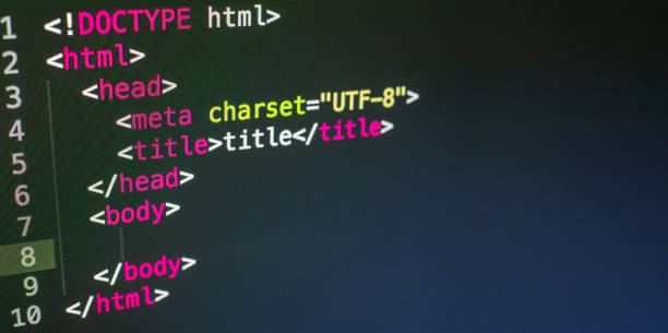 html-code aus nächster nähe - html stock-fotos und bilder