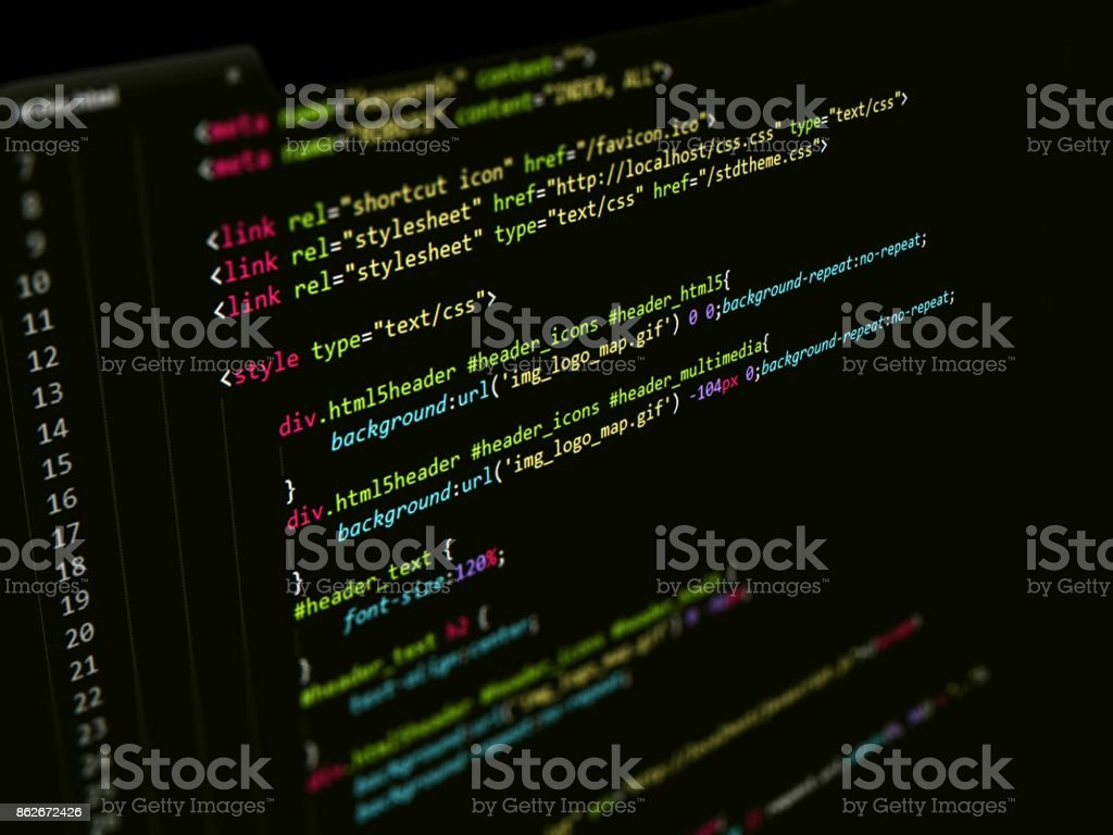 CSS Code in text editor, Web page Internet Technology stock photo