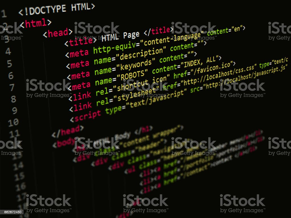 HTML Code in text editor, Web page Internet Technology stock photo