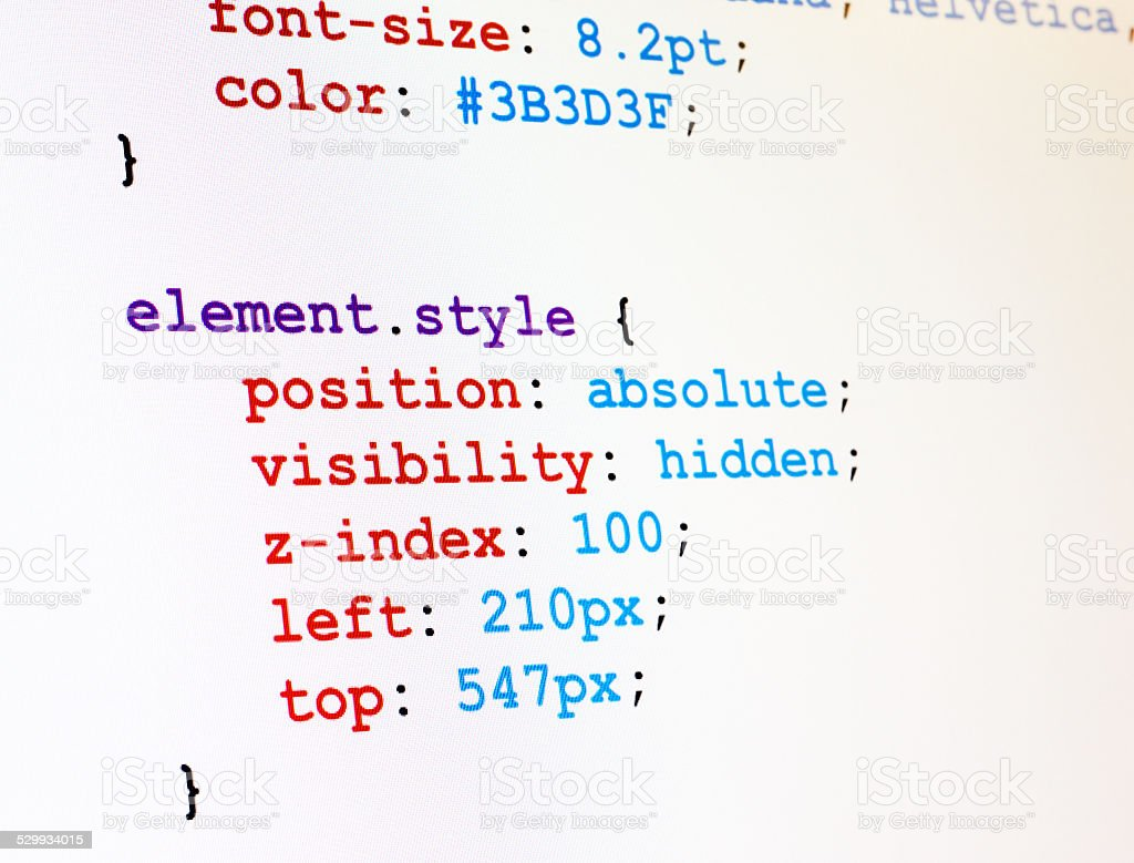 CSS code monitor screenshot stock photo