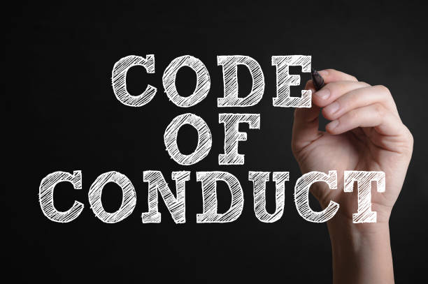 Code of conduct Hand writing Code of conduct on a virtual screen social issues stock pictures, royalty-free photos & images