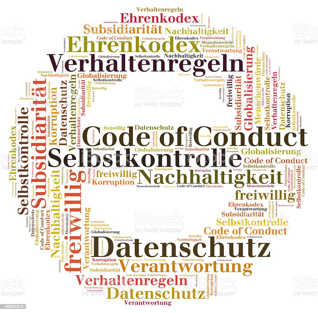 Code of conduct word cloud royalty-free stock photo