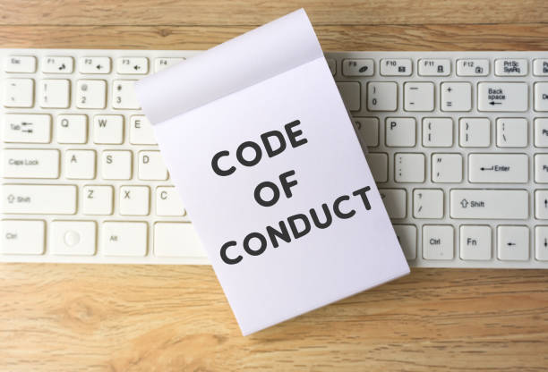 Code of Conduct Word on Note Pad Single Word, Business Culture, Goal, Ethic, Sign social issues stock pictures, royalty-free photos & images