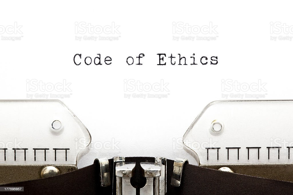Code of Ethics Typewriter royalty-free stock photo