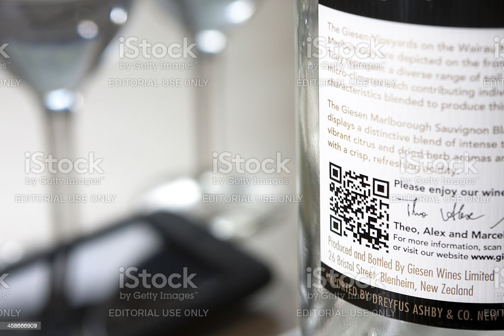 QR code on a wine bottle stock photo