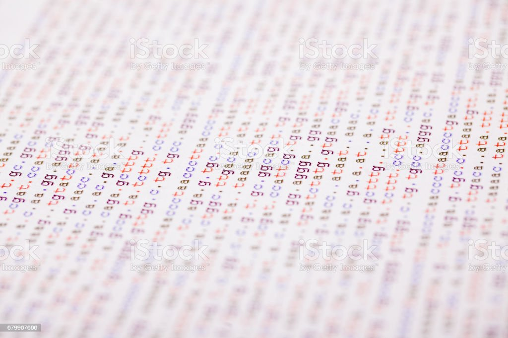 DNA code on paper report stock photo