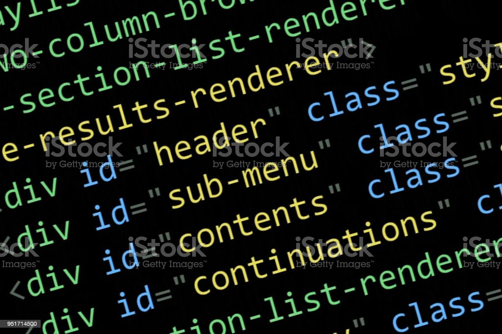 Html Code On The Computer Screen On A Black Background Stock Photo -  Download Image Now