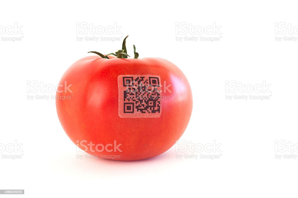 QR Code on Tomato royalty-free stock photo