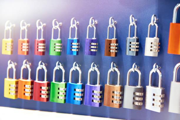 Code padlocks in store stock photo