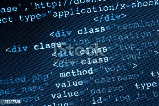 HTML code on LCD screen.