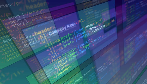 3D code programming for website. Editor's view stock photo