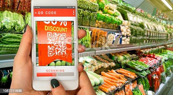 QR Code, Supermarket, Mobile Phone, Digital Display, Shopping