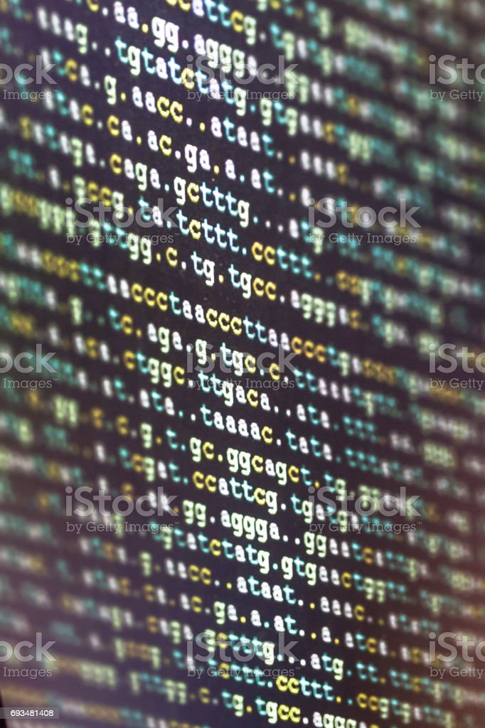 DNA code with black background stock photo