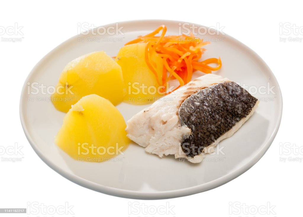 Codfish Prepared On Steam With Potatoes And Carrots At Plate Stock Photo Download Image Now Istock