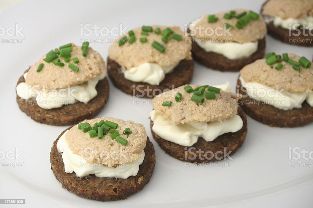 Codfish Roe Canapes royalty-free stock photo