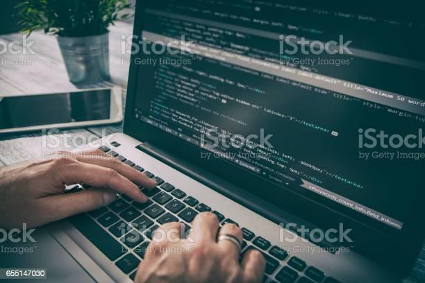 Coding Code Program Compute Coder Develop Developer Development Stock Photo - Download Image Now