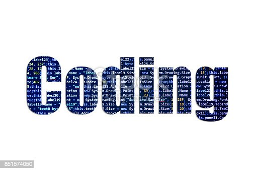 Computer Coding concept written with beautiful letters made of source code.