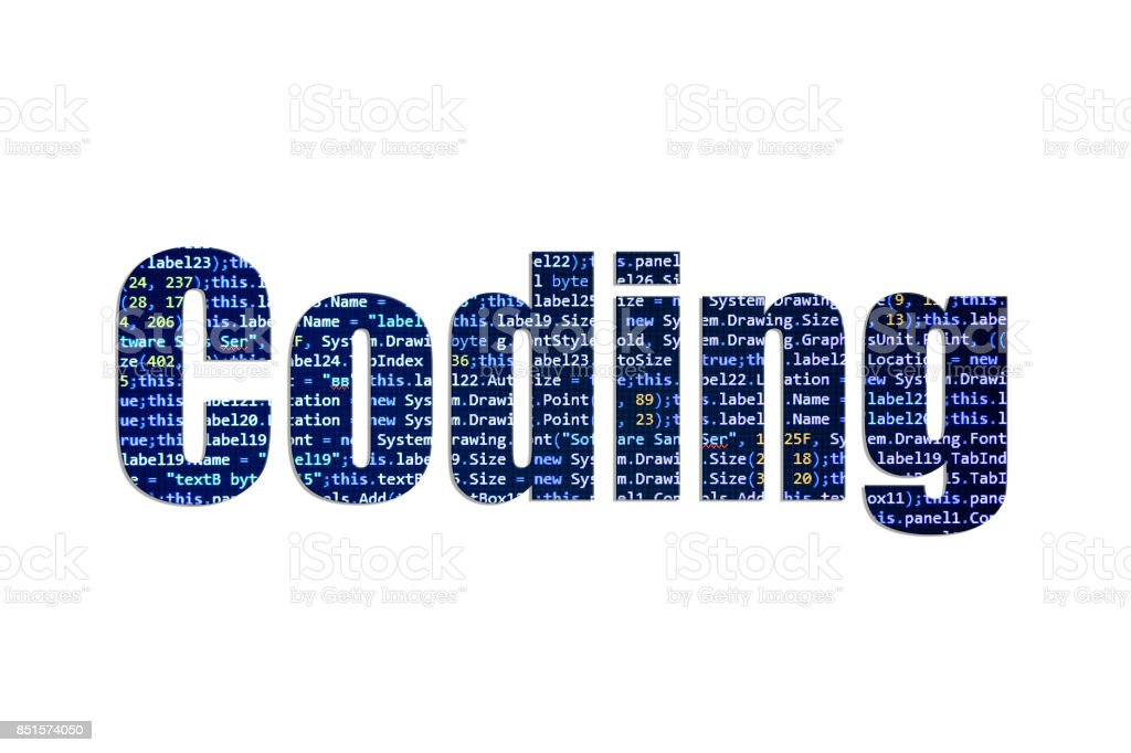 Coding concept on a white background stock photo