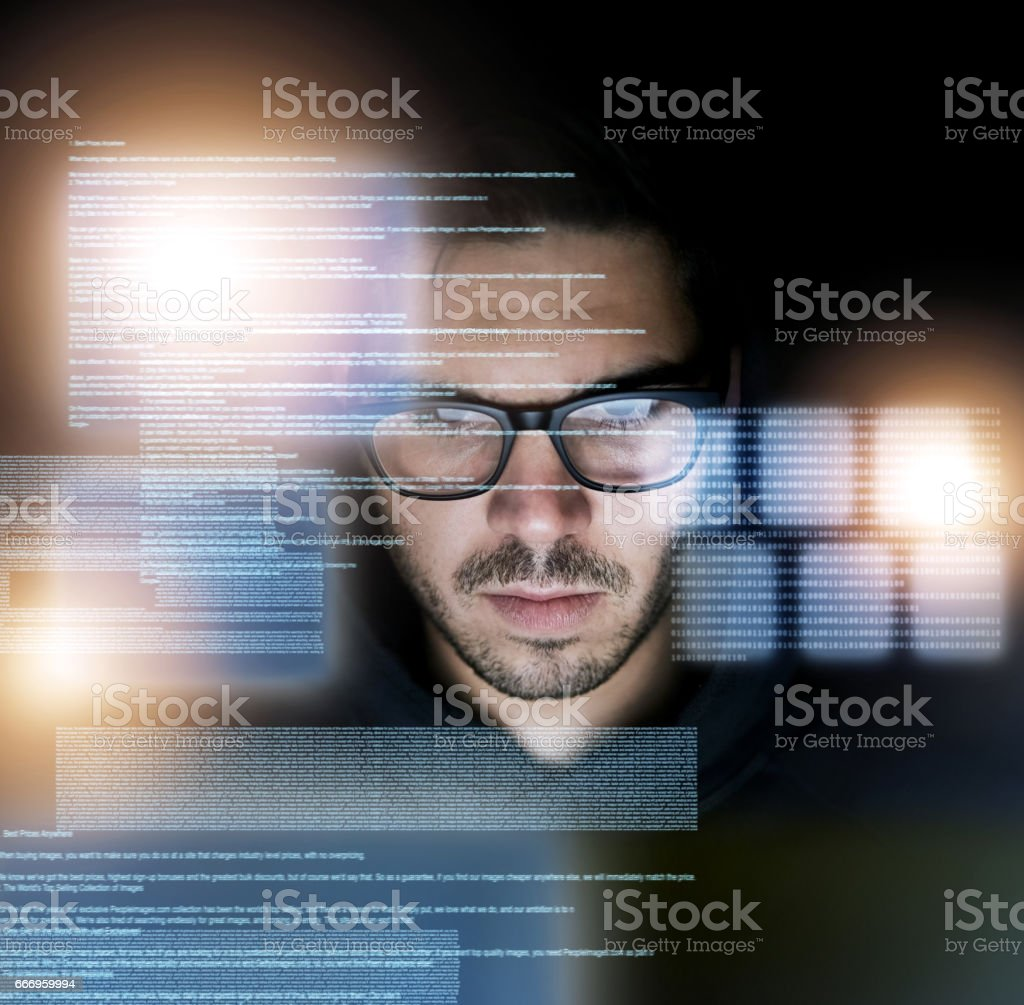 Coding is second nature to him stock photo