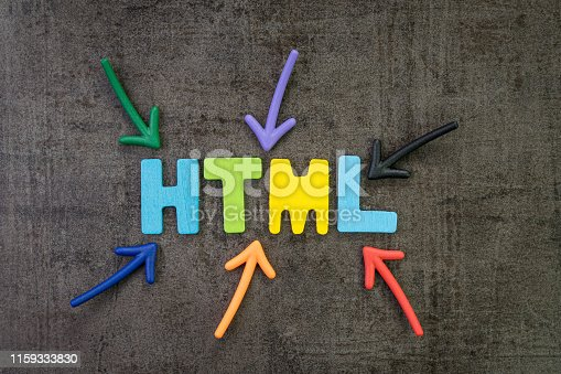 1045434476istockphoto HTML coding language programming for website, blog and SEO concept, multi color arrows pointing to the word HTML at the center of black cement chalkboard wall 1159333830